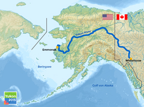 Yukon River Map from Whitehorse/Canada to Emmonak/Alaska. PHOTO CREDITS: YUKON-BLOG.DE, BASE: NZEEMIN, WIKIMEDIA, CC-SA-BY 3.0