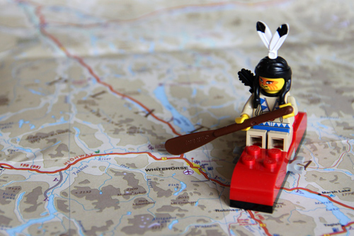 Lego Native serving as a mascot for the yukon expedition 2015 on a map.