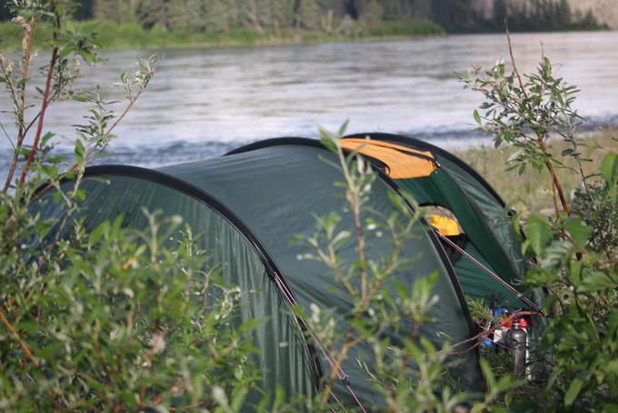 Yukon River tent camping.